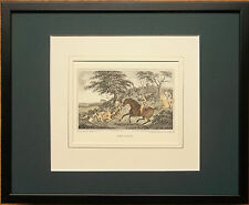 Framed Hunting print - 20''x16'', The Death, aquatint, J Barenger print