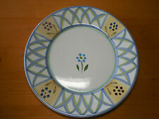 """Caleca Italy GRECA Set of 5 Dinner Plates 11 1/4"""" Rimmed Blue Green arches"""