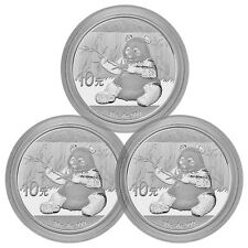 2017 China 10 Yuan 30g Silver Panda - Lot of 3 In Mint Cap SKU43867