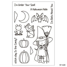 Halloween Girl Clear Stamps for DIY Decor Scrapbook Card Marking Supplies Craft