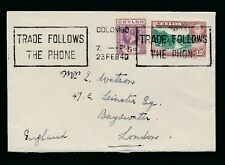 CEYLON 1940 MACHINE TELEPHONE SLOGAN CANCEL to LONDON...KG5 + KG6 COMBINATION