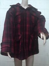~~Vintage Woolrich Hunting Field Heavy Wool Coat Plaid 1940/50s Sz.42 Made  USA
