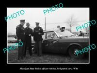 OLD LARGE HISTORIC PHOTO OF MICHIGAN STATE POLICE FORD PATROL CAR c1970s