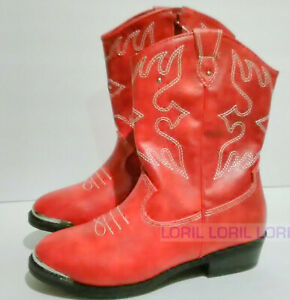Wonder Nation Red Cowboy Boot Slip On zip ups Size 1,3,7,8,9 OR 13 Faux Leather