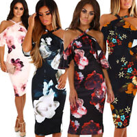 Womens Midi Boho Floral Summer Beach Halterneck Evening Cocktail Party Sun Dress