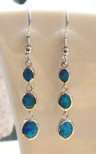 Ohrhänger Ohrring Tropfen Kreise blauer Opal Feueropal Sterling Silber 925.