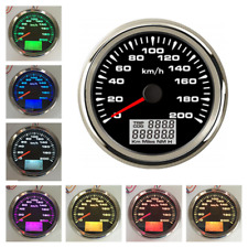 7Color LED 0-200km/h GPS Speedometer Gauge 85mm LCD Kilo Odometer Counter 9-32V