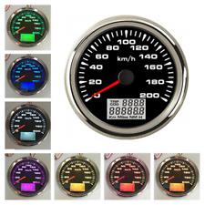 7Color LED 0-200km/h GPS Speedometer Gauge 85mm LCD Kilo Odometer Counter 9-32V