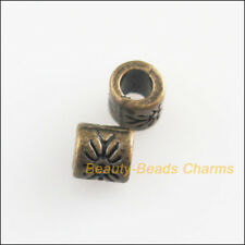 60 New Round Flower Tube Charms Antiqued Bronze Tone Spacer Beads 4mm