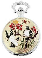 Taschenuhr Weiß Silber Gold Klassik Elster Vögel Analog Quarz D-180822000015350