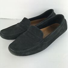 8af4b61134c MERCANTI Fiorentini Black Suede Leather Driving Moccasin Penny Loafer Sz 10