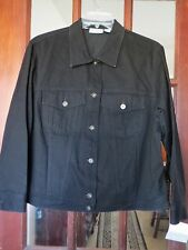 "NWT Women's Black Jean Jacket Coat By ""ELISABETH"" 100% Cotton, Size 1,"