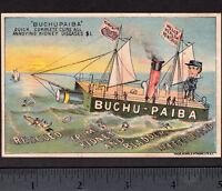 Buchu-Paiba Kidney Disease Cure 1800's Bottle Ship Rat Killer Fantasy Trade Card