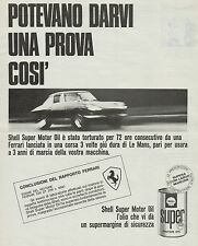 J0598 SHELL Super Motor Oil - Ferrari - Le Mans - Pubblicità - 1967 Vintage Ad