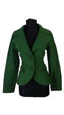 Womens Piu & Piu Jacket size 12 14 Green Coat Wool Casual 38DE 44IT Hip Business