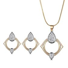Retro Lady Drop Ring Gold Filled Swarovski Crystal Necklace Earrings Jewelry SET