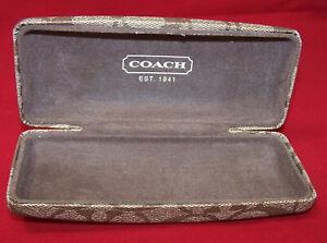 Coach Clamshell hard case sunglass eye glass tan/brown C logo nice