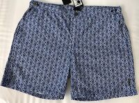NWT $159 Boss Hugo Boss Tigerfish Mens Quick Dry Blue Swimsuit Shorts Size Large
