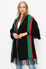Black Color Green Red Striped Designer Inspired Lady Top Poncho Shawl Cardigan