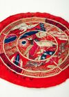 Antique decorative embroidered Korean pillow end with ten symbols of longevity