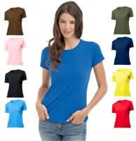 Womens Womans Ladies Fit Plain Cotton Crew Neck Tshirt Tee T-Shirt