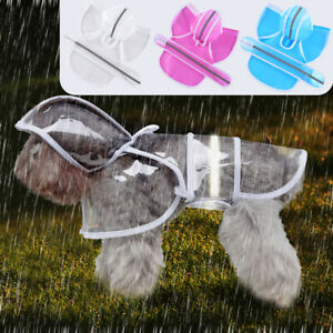 Clear Waterproof Dog Rain Coat with Hood Reflective Pet Raincoat Jacket S-4XL