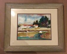 WATERCOLOR PAINTING BY LISTED TEXAS ARTIST MARTHA 'MUFFY' CARLO  HOUSE RIVER