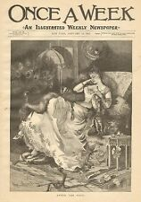 Ladies Fashion, After The Ball by Hurst, Fan, Vintage 1890 Antique Art Print