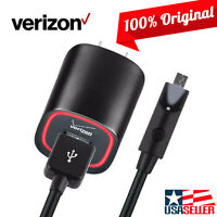 OEM Verizon LOGO Rapid Wall Home Charger 6FT MicroUSB Data Cable w/ LED Light