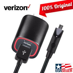 OEM Original Verizon LOGO Wall Charger + 6FT Micro USB Data Cable w/ LED Light