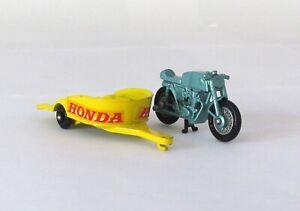 Vintage Lesney Matchbox #38 Honda Motorcycle and Trailer Regular Wheel NEAR MINT