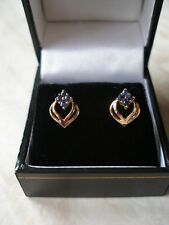 PAIR OF 9 CARAT GOLD FANCY SAPPHIRE EARRINGS MADE IN ENGLAND BRAND NEW IN BOX