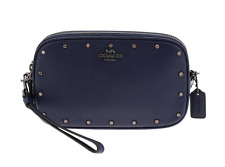 NWT Coach Sadie Crystal Rivets Leather Crossbody Clutch 38931 Cadet Blue $225