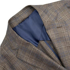 Mint ! 40 R Luciano Barbera Soft Brown / Blue Plaid Slim Fit Blazer Made Italy