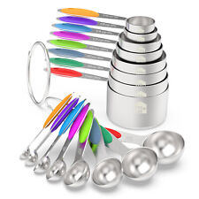 Stainless Steel Measuring Cups & Spoons 16-Piece Set, 8 Cups & 8 spoons