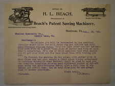 ANTIQUE 1900 MONTROSE PA H L BEACH SAWING MACHINERY LETTERHEAD w/ SAW GRAPHICS