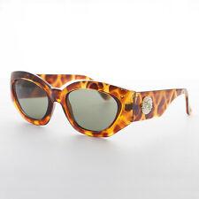 Oversized Cat Eye Women's Vintage Sunglasses with Gold Lion Detail Tortoise-Diva