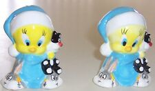 NIB Baby Tweety Bird Salt Pepper Set  PJs  Bunny Slippers  Sylvester Aprx 3 1/4""