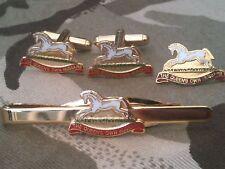 Queens Own Hussars Cufflinks, Badge, Tie Clip Gift Set