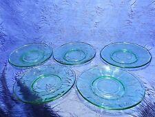 5 Vintage 12 Point Green Depression Glass Saucers