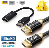 New Set : DP to HDMI 4K 60Hz Adapter Converter + 3ft / 6ft / 10ft HDMI 2.0 Cable