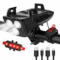 Bike Light Set, 4000mAh USB Rechargeable Bicycle Lights, 600 Lumen Waterproof