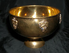 "Brass Grape Motif Decorative Center Piece Footed Pedestal Fruit Bowl 7 5/8""  Dia"