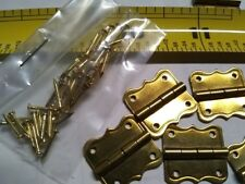 """10 Brass Plated Butt Hinges Size 3/4"""" x 11/16"""" With Nails 10 Hinges/40 Nails"""