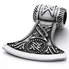 MENDINO Large Men's Stainless Steel Pendant Necklace Axe Viking Chain Silver