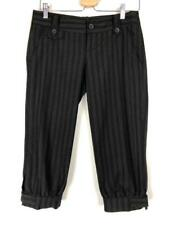 ** ZARA BASIC ** Sz S (10) Black Grey Stripe Womens Occasion Capri Pants
