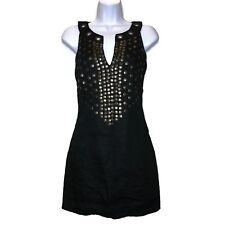 Rene Derhy Dress S Black Sleeveless Beaded Studded Linen