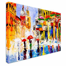 Colorful Rainy Night Canvas Wall Art Picture Print