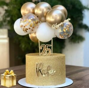 Confetti Balloon Cake Topper Arch Garland Birthday Wedding Decoration GOLD WHITE