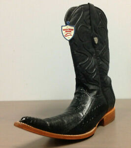Wild West Men's 6X-Toe Ostrich Leg Cowboy Western Boots Black Negro Size 8.5 EE